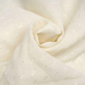 tissu-mousseline-blanc-a-motif-tisse-et-dore