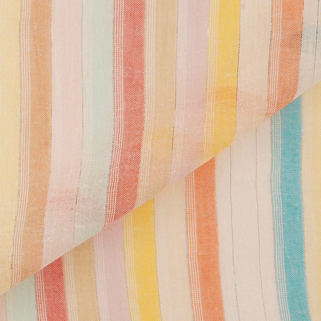 Tissu voile de coton rayures multicolores